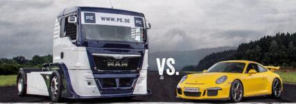 Bremsduell: Renntruck gegen Porsche GT3