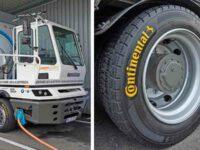 Conti stattet E-Lkw mit Reifen der Generation 3 und Conti-Pressure-Check aus