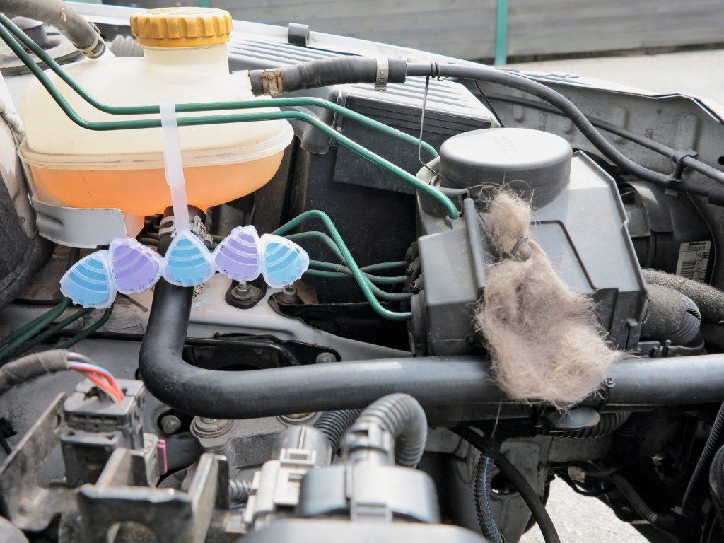 Haushaltsmittel im Motorraum