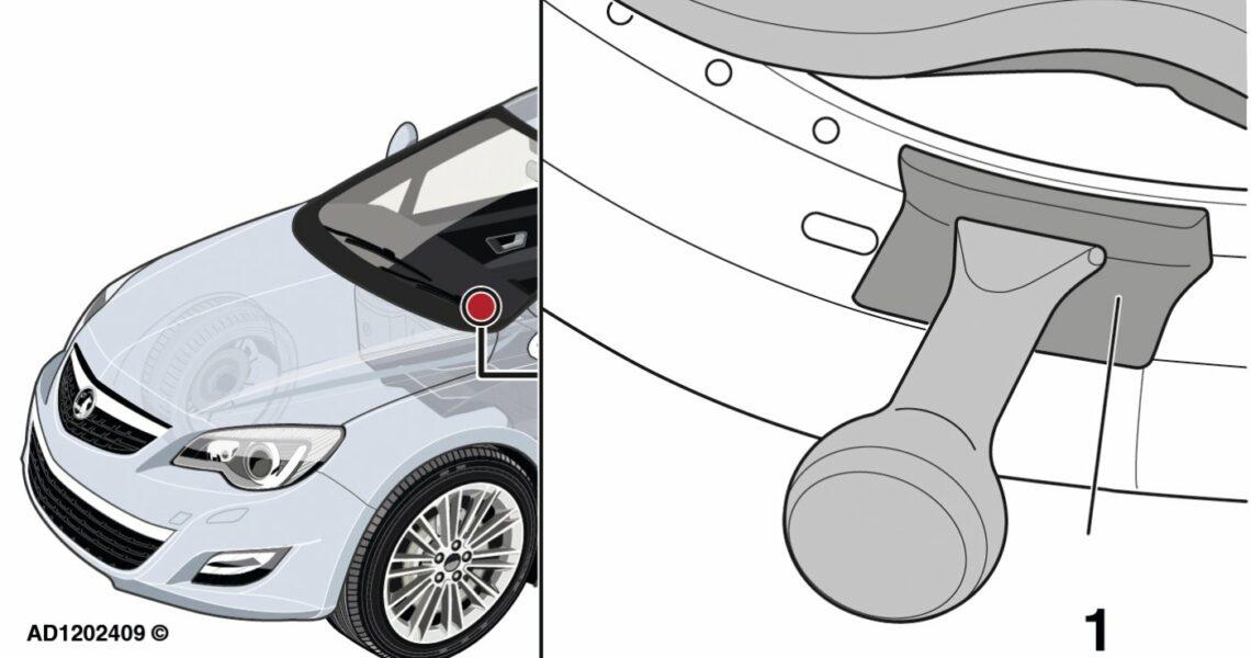 Grafik von Opel Astra mit Detailbild des Türschwellers