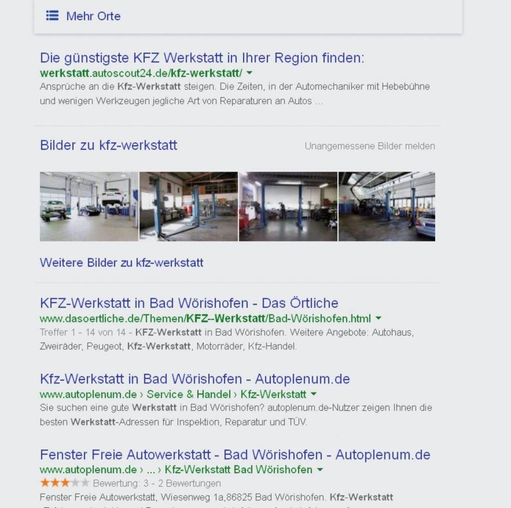 Werkstattsuche auf Google